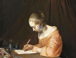 Borch detail, girl writing with quill
