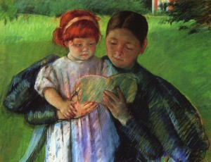 Nurse Reading, detail by Cassatt