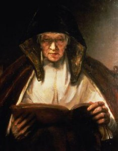 detail from Rembrandt painting of old woman reading