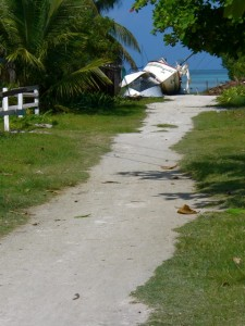 sandy path and boat
