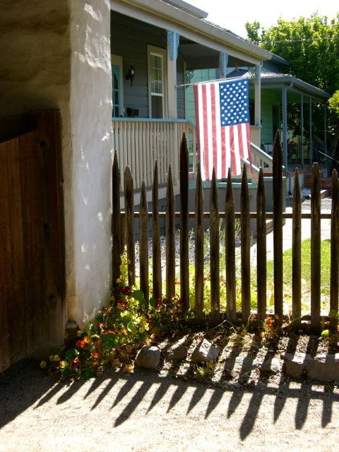 flag, fence