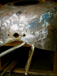 The end of the boat tail, with new pieces being fabricated and welded in, to replace the rotted out metal.