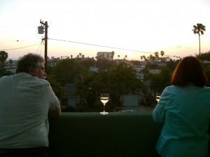 Harry and Susan, watching the sunset from their upstairs balcony.