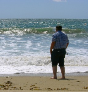 Harry contemplates the waves.