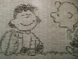The picture is made of comic strips.