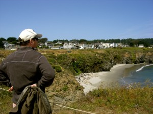 Looking back at Mendocino from the headlands.